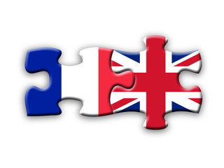 French & UK Flags (jigsaw solution language translation)