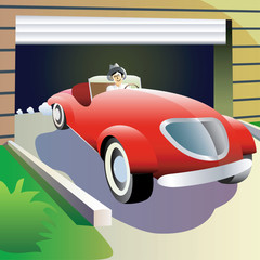 Printed roller blinds Cars Man drives retro car. Vector illustration.
