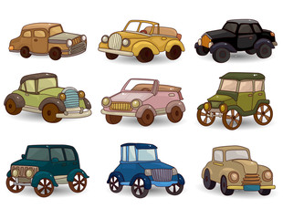cartoon retro car icon set
