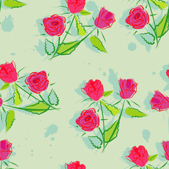 Seamless roses background. Vector illustration.
