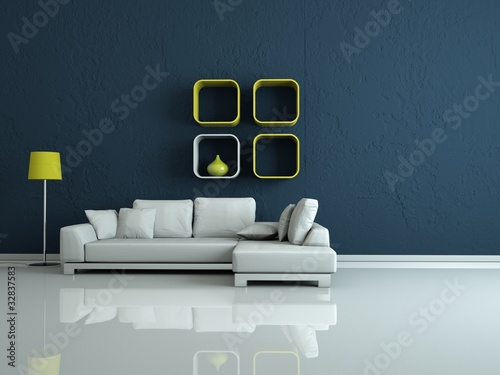 Moderners Wohnzimmer Weisses Sofa Vor Blauer Wand Stock Photo And