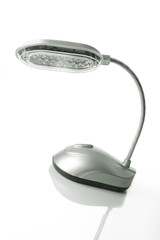 Grey desk lamp with LEDs isolated