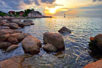 Tropical sea colorful sunset.