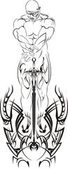 Nackter schwarzer Krieger mit Schwert