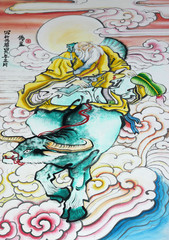 Chinese art painting on wall of shrine