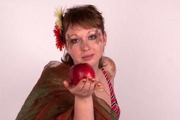 body art, studio, leaves, blond, apples