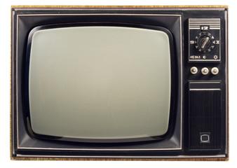 Old vintage TV over a white background