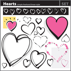 Heart shapes set (freehand drawing style)