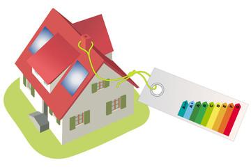 Haus mit Effizienztabelle
