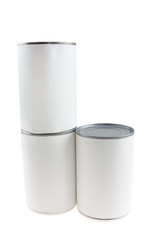 blank food cans stack
