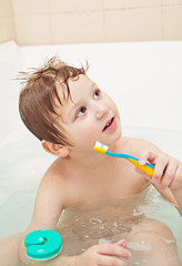 Little boy with toothbrush