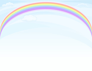 Rainbow over blue sky - vector EPS 8