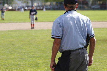 Umpire on a baseball field during a game.
