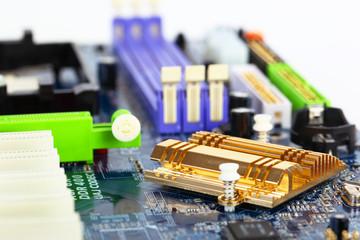 Computer motherboard closeup