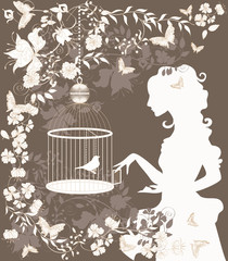 Deurstickers Vogels in kooien Vintage background with flowers, bird and girl silhouette