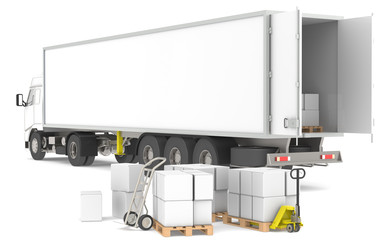Distribution. Trailer with pallets, boxes and trucks.