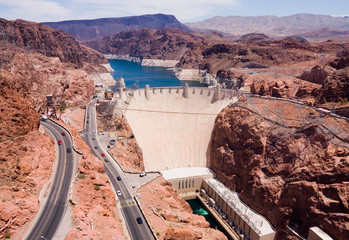 Aluminium Prints Dam Aerial view of Hoover Dam