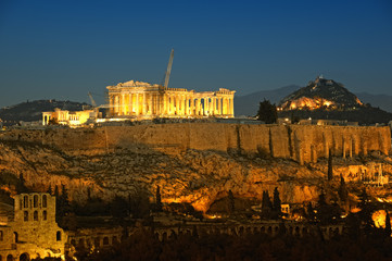 Acropolis and Lycabettus Hill in the background, Athens, Greece