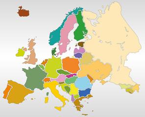 Poster Bunte Karte Schweiz mit den Staaten und Hauptstädte - Europa
