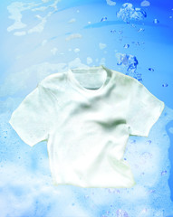 Shirt cleaning underwater with detergent