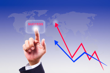 hand pushing success button and graph