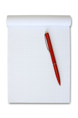 note book with red pen. isolated on white.
