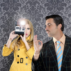geek mustache man reporter fashion girl photo shoot