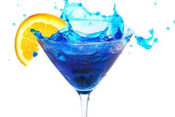 Blue cocktail with orange