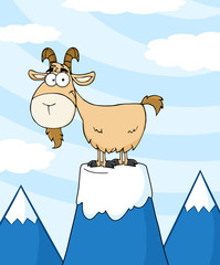 Goat Cartoon Character On Top Of A Mountain Peak