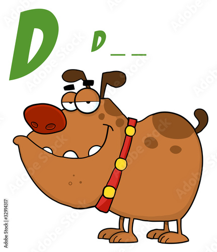4 Letter Cartoon Characters : Quot brown dog cartoon character with letter d stock image