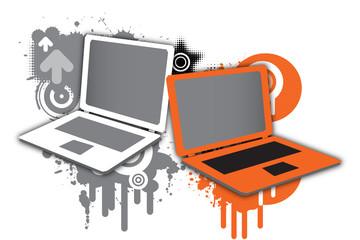 Laptop orange and white