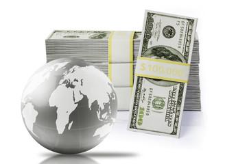 Globe on a silver dollar