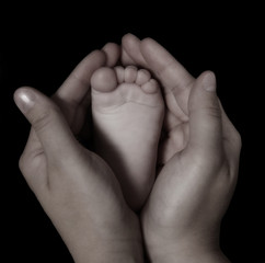 close-up of woman's hands holding infants foot in black and whit
