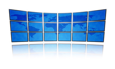 world map television wall