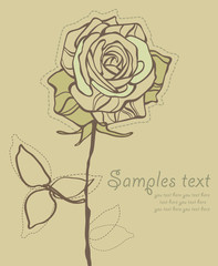 Retro Card With Stylized Rose Vector