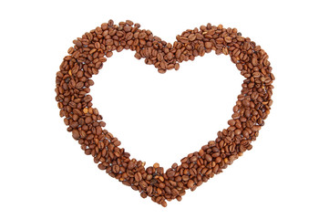 Heart, made from coffee beans on a white background