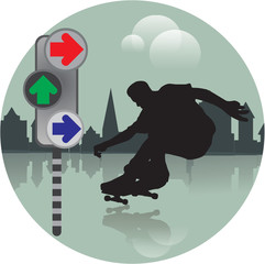 Silhouette of a skater with directional lights