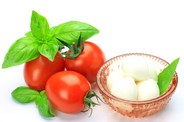 fresh cheese and tomato and basil