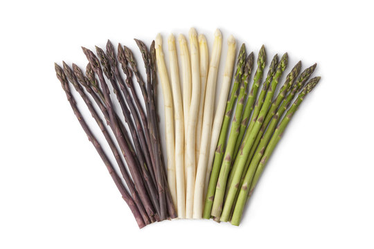 Purple, white and green asparagus