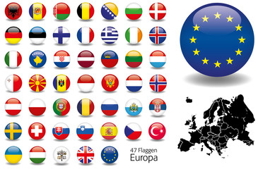 Europa Flaggen Fahnen Set Buttons Icons Sprachen 6