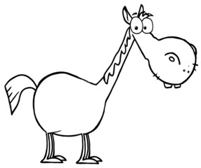 Coloring Page Outline Of A Short Horse With A Long Neck