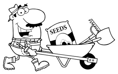 Outlined Male Pushing Seeds, A Rake And Shovel In A Wheelbarrow