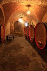 Fototapete - Weinkeller,Rotwein,arrique Faß ausgebaut,Toskana,Italien