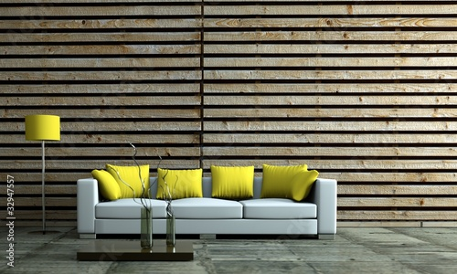 Modernes Wohnzimmer Mit Holzwand