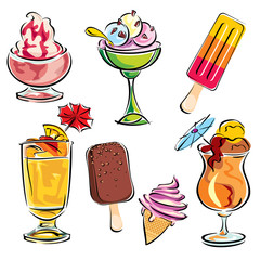 summer drinks and dessert