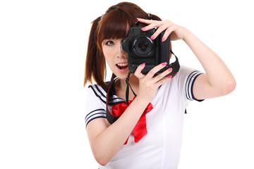 Ragazza fotografa
