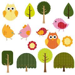 Polka birds and trees