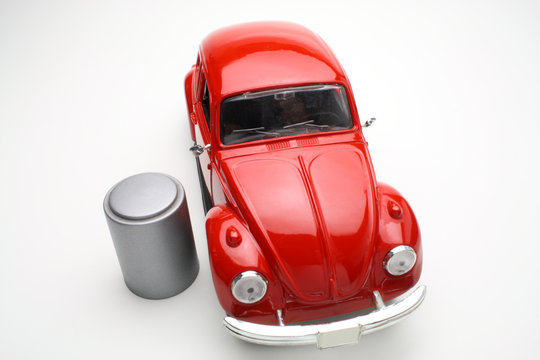 Red Toy Car With Bin