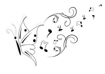 Schmetterling und Noten