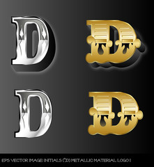 Fototapeta eps Vector image:initials(d)metallic material logo I obraz
